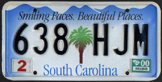 Current SC Passenger Vehicle Plate