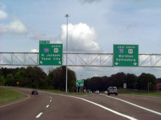 Mississippi southeastroads interstate 20 eastbound exit 41 for interstate 220us 49 north departing from interstate 20 eastbound the 1160 mile freeway links interstate 20 with interstate 55 north of the publicscrutiny Images