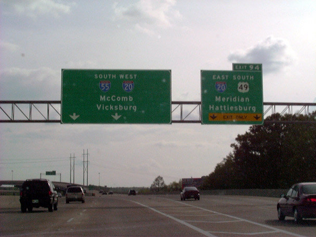 Mississippi southeastroads interstate 55 southbound sign bridge on interstate 55 south at the junction with interstate 20us 49 exit 94 interstate 55 is six to eight lanes north of this location to publicscrutiny Images
